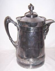 12 Tall Silver Plated Water Tankard Patented 1888 Mermod And Jaccard St Louis Mo