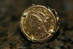 Vintage 1901-s 5 Dollar Liberty Head Half Eagle Gold Coin Ring 14k Mount Size 8