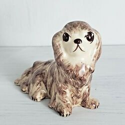 Vintage Spaniel Dog Figurine Hand Painted Brown Tan Home Decor Collectible Small
