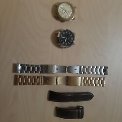 Fossil Mens Watch Lot Of Two Silver, And Gold Plated. Both Are Smart Watches