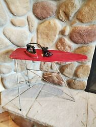 Vintage Wood Toy Red Color Ironing Board W Metal Legs Includes Wolverine Iron