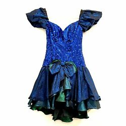 Alyce Designs Vintage 80's Prom Dress Size 8 Sequin Short Puff Sleeve Tiered $87.95