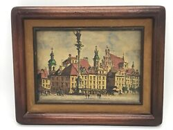 Fab Vintage 1979 Realism Old City Warshaw Poland Watercolor Framed And Matted