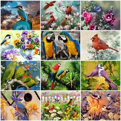 Colorful Oil Painting Art Numbers Kit Set Wall Birds Animal Flowers Room Decor