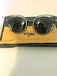 Fendi Cateye Metal Sunglasses Blue And White Frame With Yellow Detail Unisex