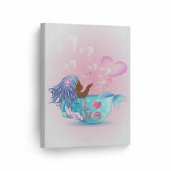 African American Kid Mermaid In Pink Blue Haired Canvas Wall Art Print