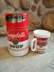 Vintage Campbell's Soup Container Insulated Aladdin Thermos W/ Thermo Mug/cup