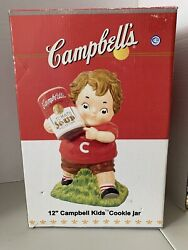 """Campbell's Soup Kids Cookie Jar New In Box 12"""" Kid Holding Tomato Soup Can"""