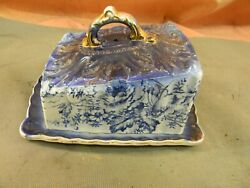 Antique Porcelain Covered Cheese Butter Dishgold Trim Numbered
