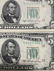 Error 《seal Up》 2 1950-a United States 5 Notes Unc Consecutive S, Top Rare!