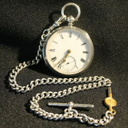 Silver Open Face Pocket Watch Charles Cooke, London C.1883 Albert Chain And Key
