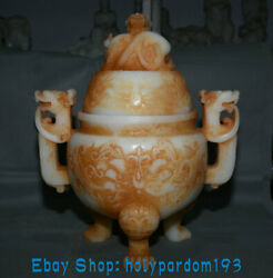 14.8 Antique China Old Jade Carving Dynasty Dragon Lid Beast Handle Censer