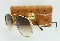 NEW MCM Sunglasses Gold w Crystals Brown Gradient MCM125S 717 62mm Aviator $79.00