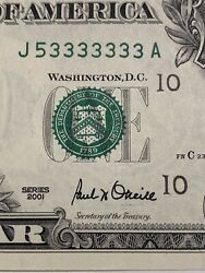 2001 1 Bill Near Solid 7 Of A Kind The 3andlsquos Super Binary Number 53333333!!