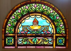 Great Arch Top Stained Glass Window W Chunk Jewels 30 X 40