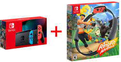 Brand New Nintendo Switch Console Neon Blue Red Joycon 32gb And Ring Fit Adventure