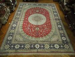 Traditional Red Blue Rug 11x15 New Silk Rug Fine Woven Pix-23654
