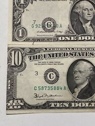 Error 2 Of 1981a 1 And 1981 10 Misaligned And Miscut Notes,unc/au Super Top Rare!