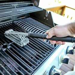 Long Platic Handle Grill Cleaning Brush Bbq Stainless Steel Durable Accessories