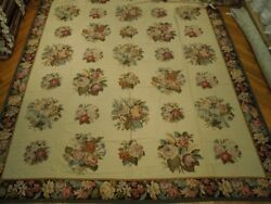 French Bouquet Needlepoint 13and039 X 20and039 Flat Weave Rug Pix-21395