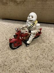 Awesome Cast Iron Michelin Man Motorcycle Motor Bike Gas Oil Tires Automotive