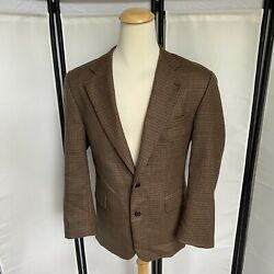 Chaps Vtg Wool Blazer Mens 42r Brown Houndstooth Lined 2 Button