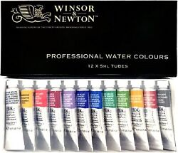 Windsor & Newton Professional Watercolor 12 Colors Set 5ml TUBES NEW from Japan