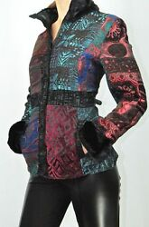 NWT LINDI Colorful Evening Women#x27;s Jacket Black Fuax Fur Aria Collection Size M $18.00