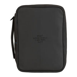 What Good Shall I Do Black 9.5x2 Fabric Zippered Bible Cover Case Handle, Large