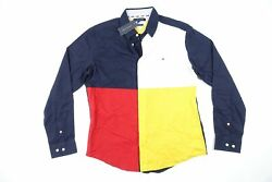 Large 78d9433 Blue Red Custom Color Block Button Front Shirt Nwt