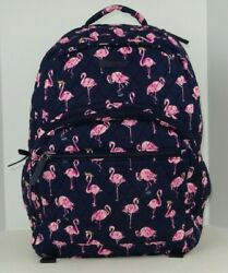 NWT Vera Bradley Essential Large Backpack FLAMINGO FIESTA Cotton Blue and Pink $89.00