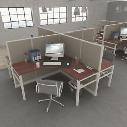 5x5 Cubicles- 54andprime H -4 Man L Shape Quad Fully Fabric Office Workstations-e