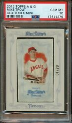 2013 Topps Allen And Ginters Mike Trout Cloth Silk Mini 3/10 Psa 10 Gem Mint 1/1