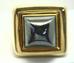 A Clunin 18k Gold 20 Gram Ring With Bullet Cut Hematite Size 6.25