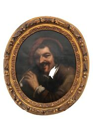 Framed 1700s Flemish Painting Oil on Canvas Representing a Pipe Smoker