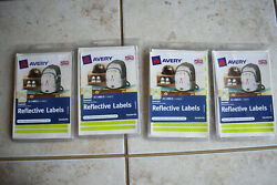 Lot Of 4 Avery Reflective Labels Stickers 42 Per Pack 40199 Green Orange Safety