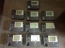 Lot Of 10 7942 Cisco Ip Voip Phone Cp-7942g W/ Handsets
