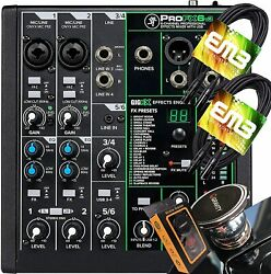 Mackie Profx6v3 6-channel Mixer W/ Usb + 2x Emb Xlr Cables + Magnet Phone Holder