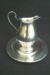 Vintage Sterling Silver Cream Pitcher With Under-plate 1930 Excellent Condition