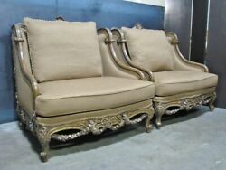 Pair Tomlinson / Erwin-lambeth Oversized Chairs And Ottoman Elaborate Gilt Detail
