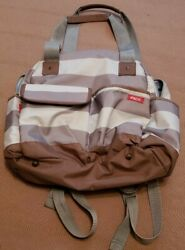 iPack Baby Backpack Diaper Bag Brown White and Grey Horizontal Stripes $16.00