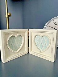 Double Picture Frame New.ivory Cream.wooden.shabby Chic.freestandin Heart.french