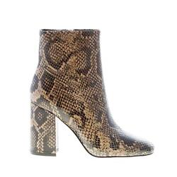 Ash Women Shoes Taupe Python Print Leather Jade Boot With Zip Heel 9 Cm