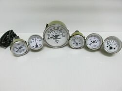 Speedometer Temp Oil Fuel Amp Vol Gauge Kit White For Willys Mb Jeep Ford Cj Gpw