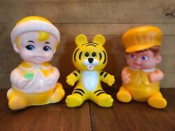 Vintage Rubber Squeak Toys - Iwai Industrial And Sanitoy - Yellow Baby Boy Tiger
