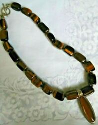 Whitney Kelly Tiger's Eye Beaded Sterling Clasp Necklace + Enhancer