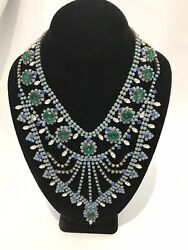 Vintage Czech Bohemia Huser.d Necklace Turquoise Teal Marine Glass Beads Huge