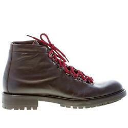 Idee De Pointe Men Shoes Dark Brown Leather Laced Ankle Boot Made In Italy