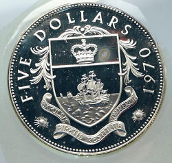 1970 Bahamas Huge Large Pirate Defeat Motto Proof Silver 5 Dollars Coin I85615