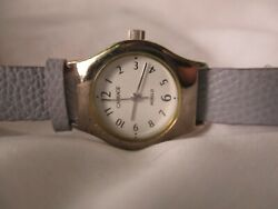 Carriage By Timex Watch Round Silver Toned Purple Leather Band Indiglo